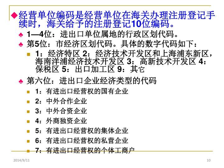 经营单位编码是经营单位在海关办理注册登记手续时,海关给予的注册登记