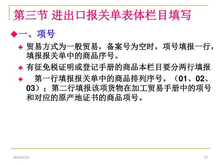 第三节 进出口报关单表体栏目填写