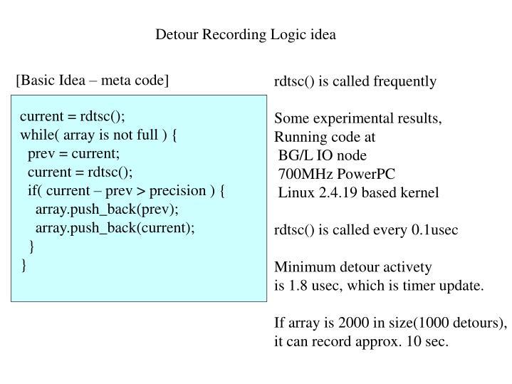 Detour Recording Logic idea