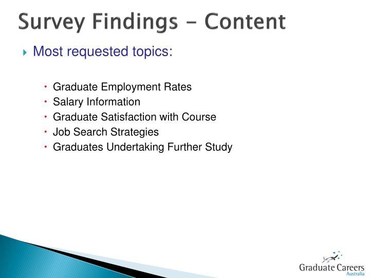 Survey Findings - Content