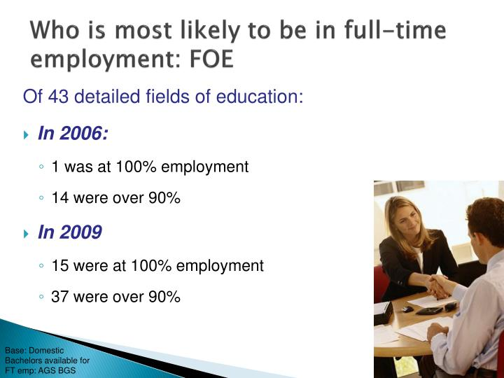 Who is most likely to be in full-time employment: FOE