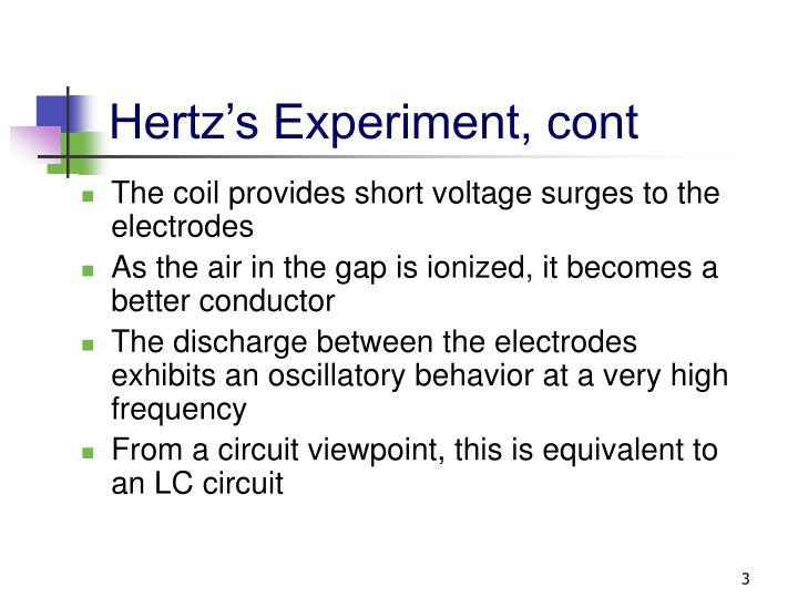 Hertz's Experiment, cont