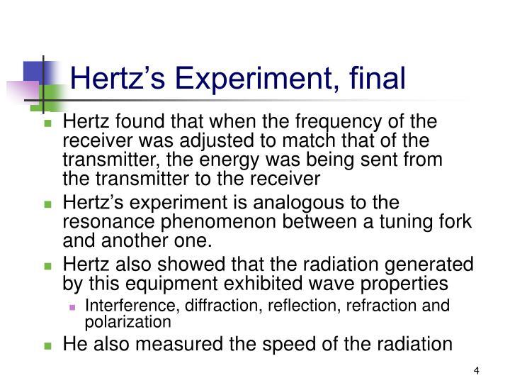 Hertz's Experiment, final