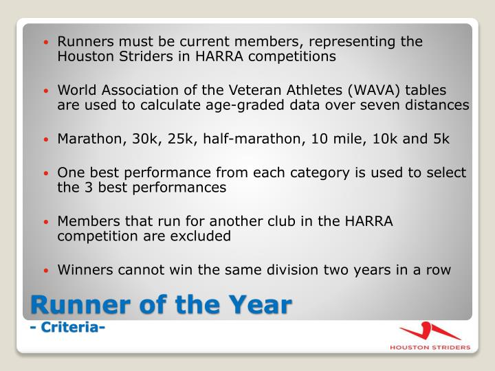 Runners must be current members, representing the Houston Striders in HARRA competitions