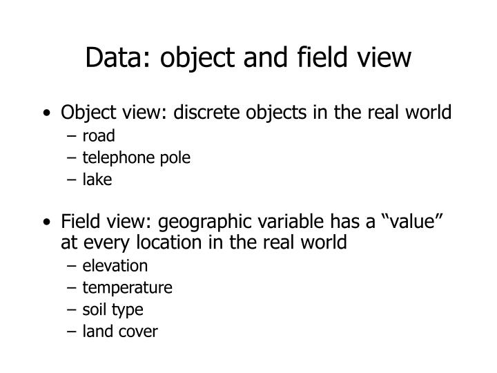 Data: object and field view