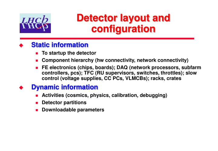 Detector layout and configuration