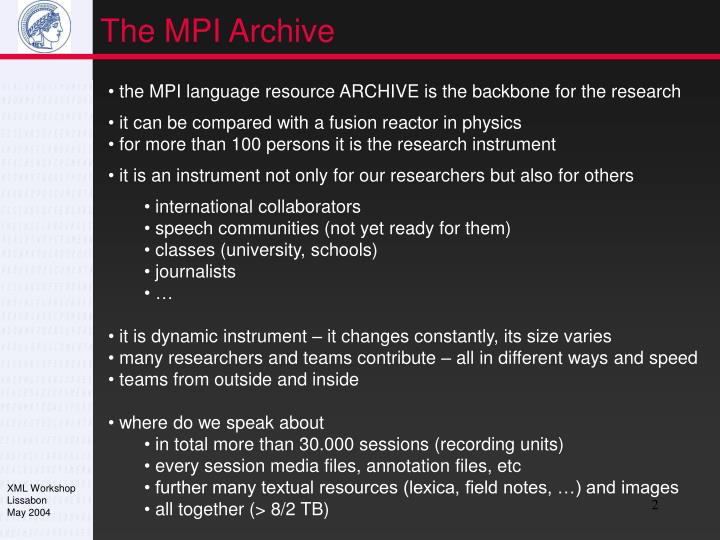 The MPI Archive