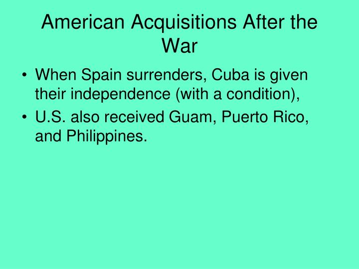 American Acquisitions After the War