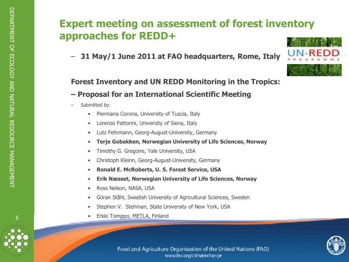 Expert meeting on assessment of forest inventory approaches
