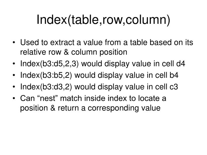 Index(table,row,column)
