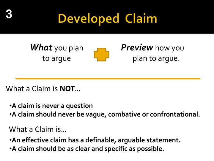 Developed  Claim