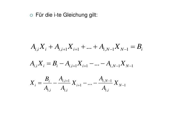 Für die i-te Gleichung gilt: