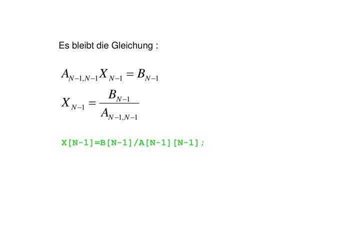 Es bleibt die Gleichung :