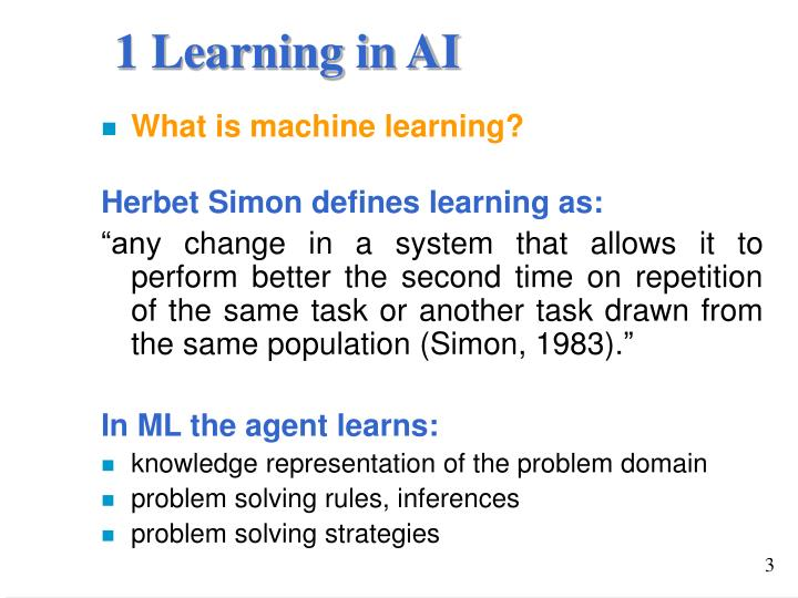 1 Learning in AI