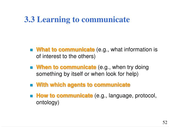 3.3 Learning to communicate