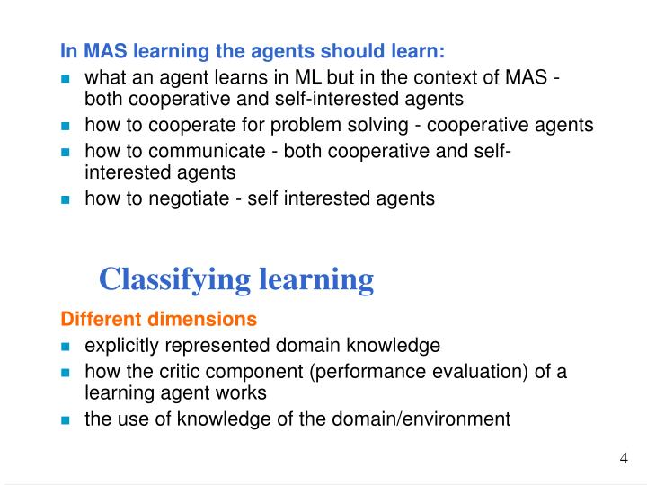 Classifying learning