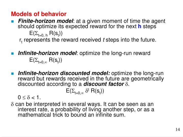 Models of behavior