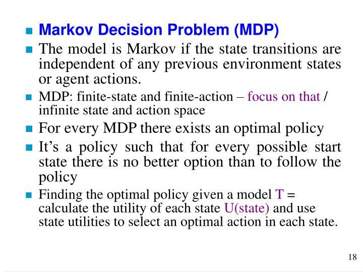 Markov Decision Problem (MDP)