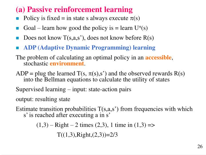 (a) Passive reinforcement learning