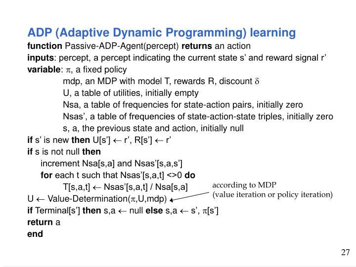 ADP (Adaptive Dynamic Programming) learning
