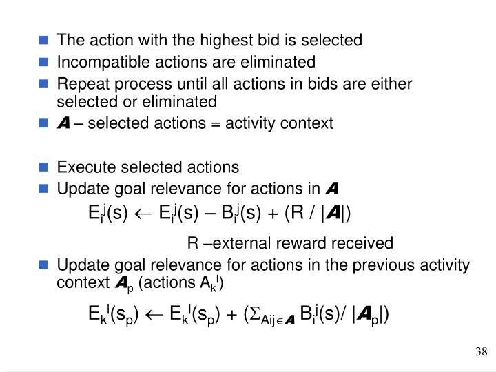The action with the highest bid is selected