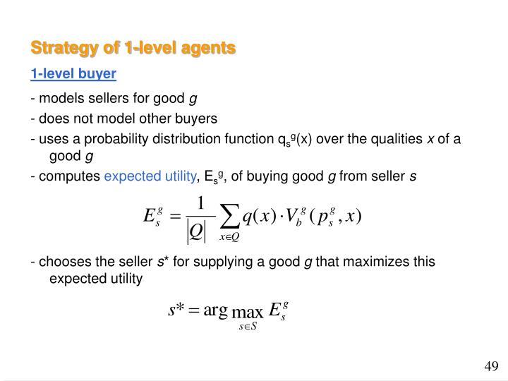 Strategy of 1-level agents