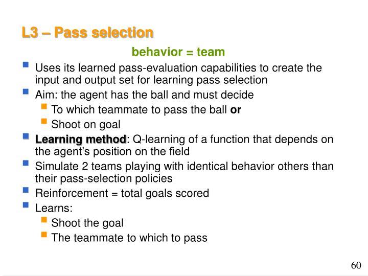 L3 – Pass selection
