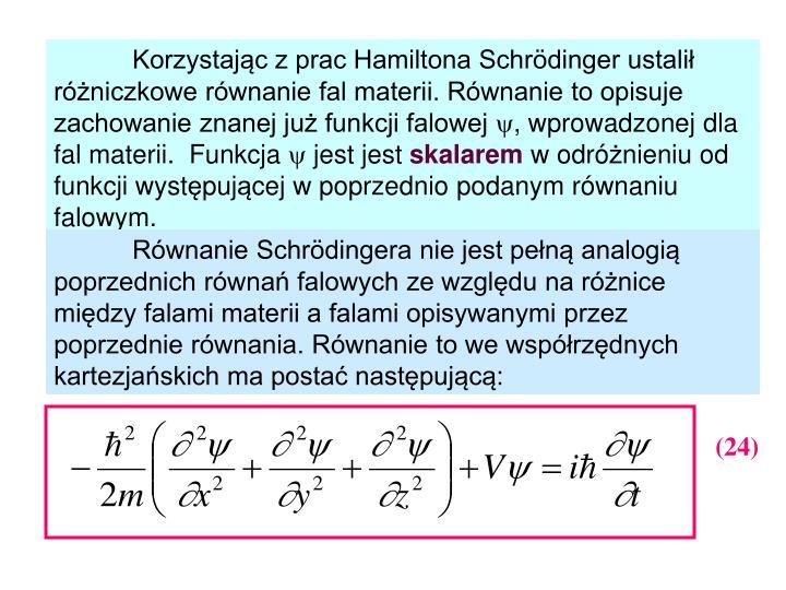 Korzystając z prac Hamiltona Schrödinger ustalił różniczkowe równanie fal materii. Równanie to opisuje zachowanie znanej już funkcji falowej