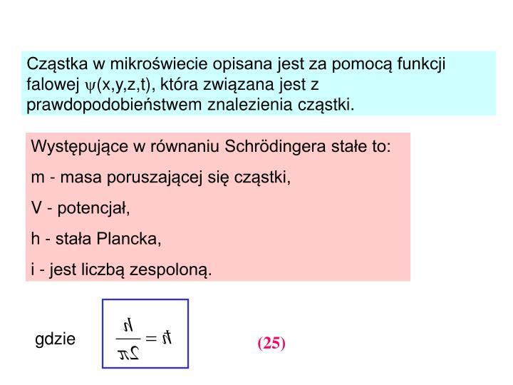 Cząstka w mikroświecie opisana jest za pomocą funkcji falowej
