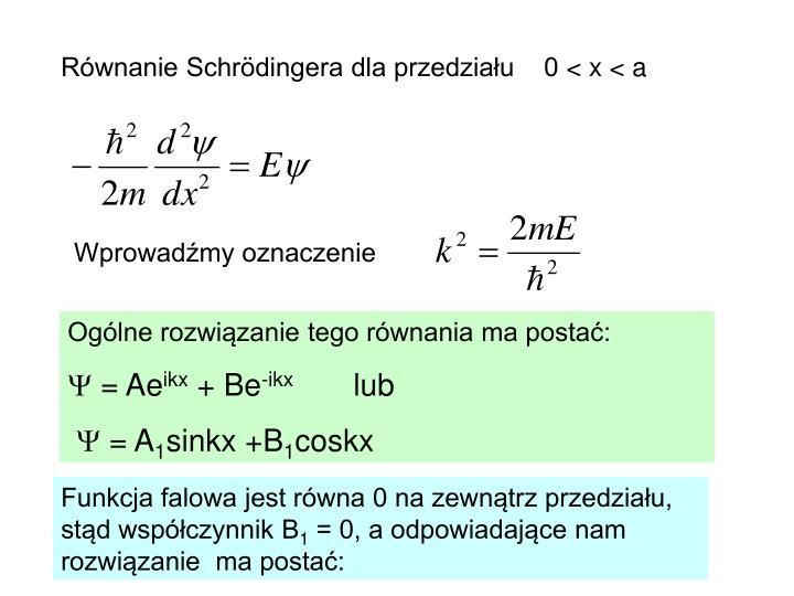 Równanie Schrödingera dla przedziału    0
