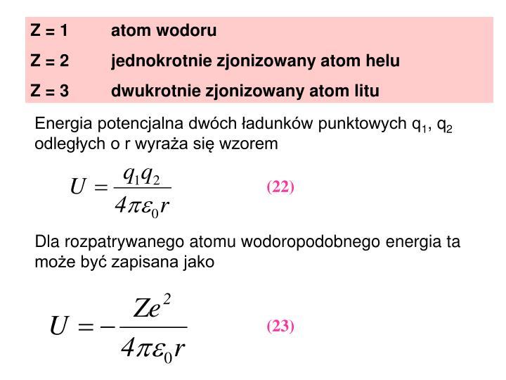 Z = 1         atom wodoru