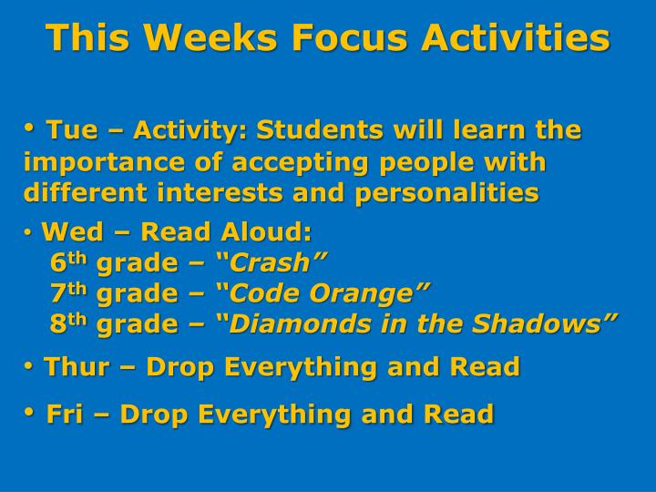 This Weeks Focus Activities