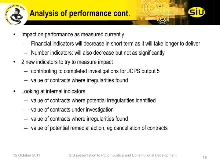 Analysis of performance cont.