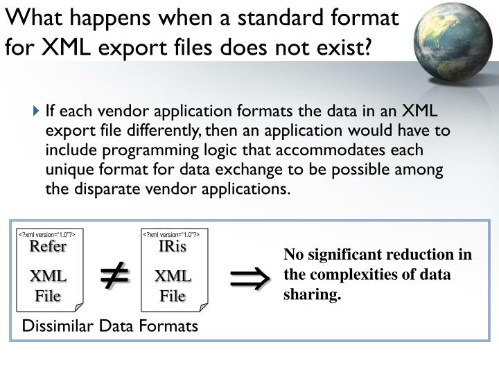 What happens when a standard format for XML export files does not exist?