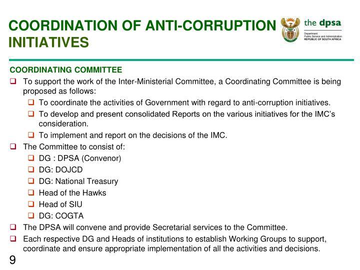 COORDINATION OF ANTI-CORRUPTION