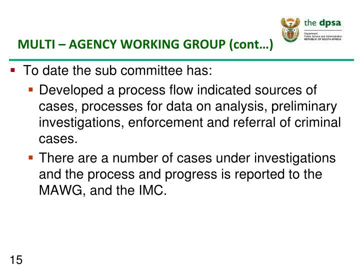 MULTI – AGENCY WORKING GROUP (cont…)