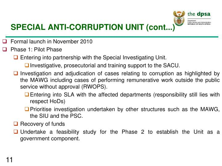 SPECIAL ANTI-CORRUPTION UNIT (cont...)