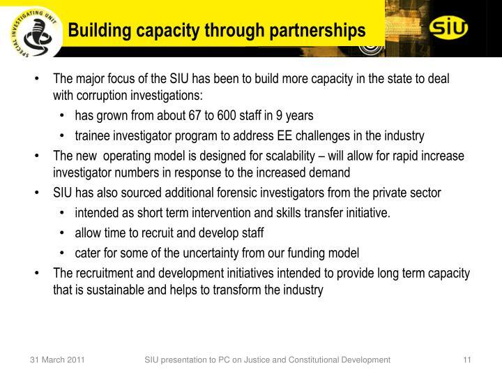 Building capacity through partnerships
