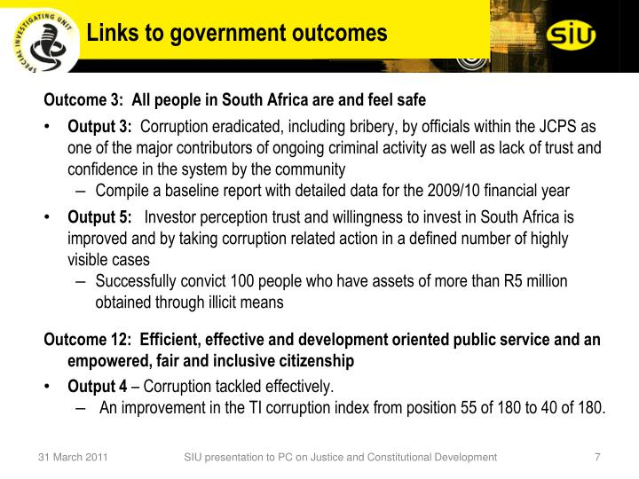Links to government outcomes