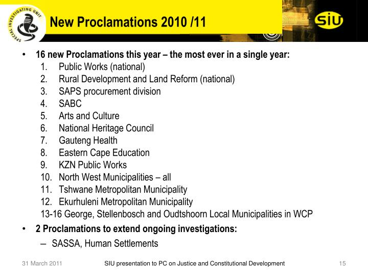 New Proclamations 2010 /11