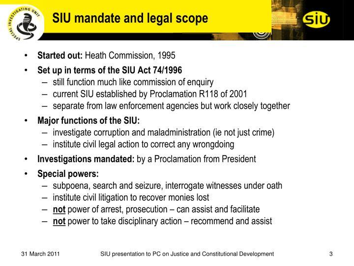 SIU mandate and legal scope