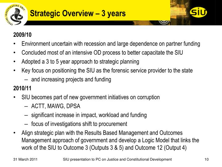 Strategic Overview – 3 years