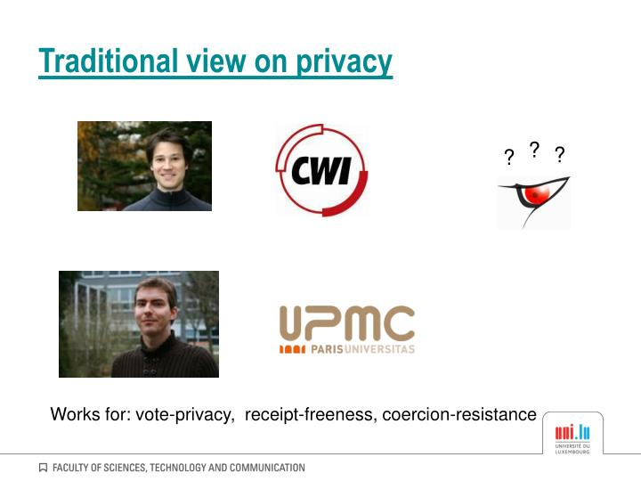 Traditional view on privacy