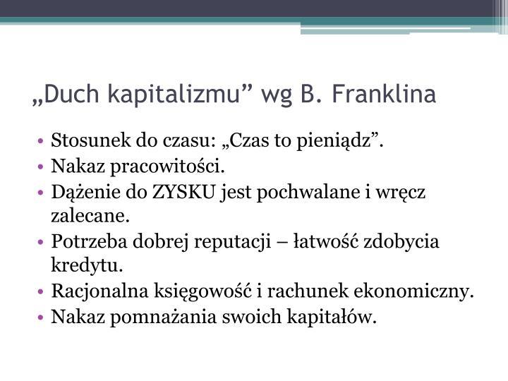 """""""Duch kapitalizmu"""" wg B. Franklina"""