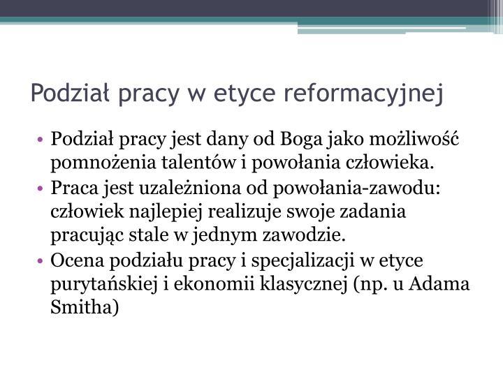 Podział pracy w etyce reformacyjnej