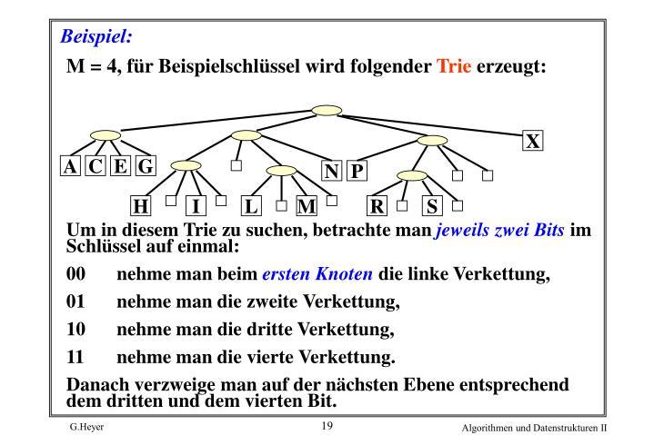 M = 4, für Beispielschlüssel wird folgender