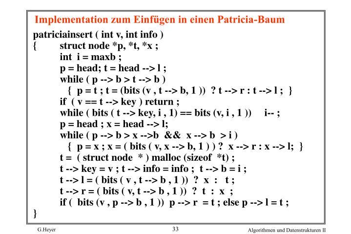 Implementation zum Einfügen in einen Patricia-Baum