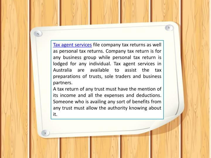Tax agent services