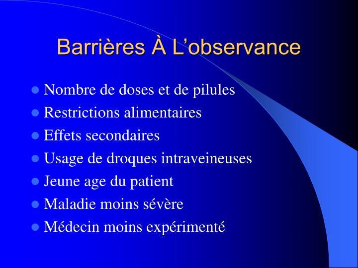 Barrières À L'observance