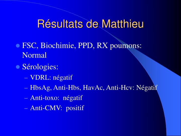 Résultats de Matthieu